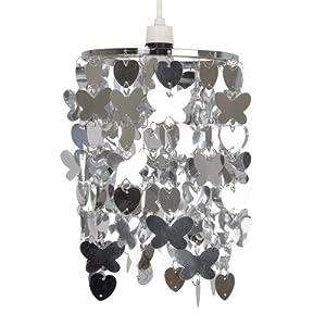 Modern Silver Hearts & Butterflies Ceiling Pendant Light Shade