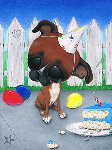 Party Time Dog By Sugar Fueled Birthday Boxer Puppy Tattoo Canvas Art Print