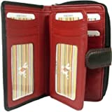 New ladies Visconti Colorado soft leather black red two tone purse wallet CD22by Visconti