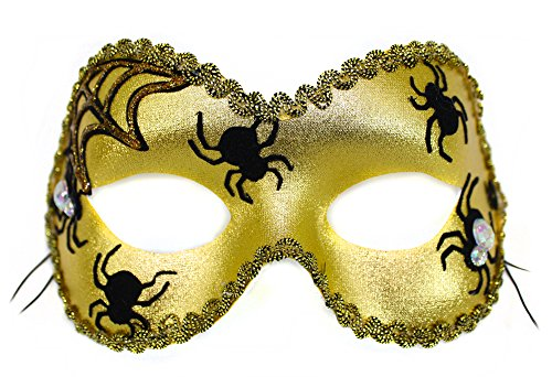 Spider Dance Scary Velvet Applique Gold Womens Masquerade Mask