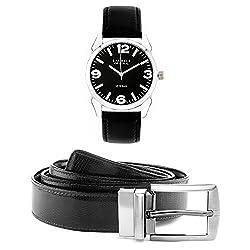 Laurels Men's Belt And Watch Combo (Black,Brown) (GT-302 BT-01