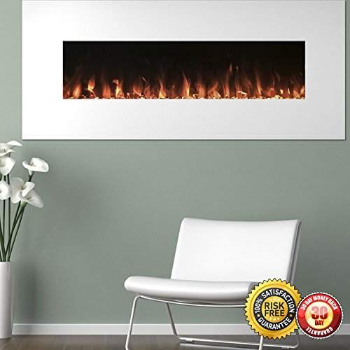 New White Electric Fireplace with Color Changing Effects Remote 50 x 21 I (White Wallmount Fireplace compare prices)