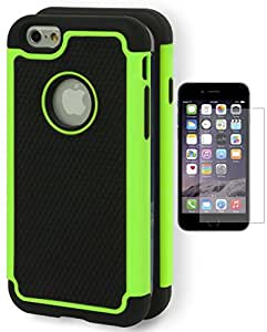 "iPhone 6 Case, Bastex Hybrid Deluxe Green and Black Rugged Shock Armor Case for Apple iPhone 6, 4.7"" 6th Generation **INCLUDES A SCREEN PROTECTOR"