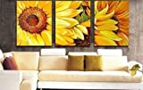 100% Hand Painted Oil Painting 3 Piece Canvas Art Modern Art Wall Art Deco Home Decoration Group Painting Artwork Yellow Sunflower Painting (Unstretch No Frame)