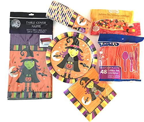 Halloween Party Decorations: Includes Plates, Cups, Table Cover, Cutlery Set with a Bonus bag of Autumn Mix Candy