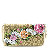 Ed Hardy Felidae Spring Zip Around Wallet - Gold