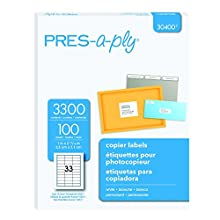 Pres-a-ply Copier Label, 1 x 2.75 Inches, White, Box of 3300 (30400)