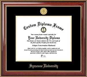 Syracuse University Orange - Gold Medallion - Mahogany Gold Trim - Diploma Frame by Laminated Visuals