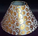 "10"" Round White with Golden Polka Dots Designer Lamp Shade for Table Lamp"