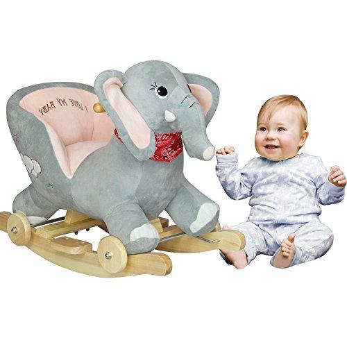Rocking Elephant Ride On with Wheels - Grey