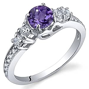 Peora Enchanting 0.50 Carats Amethyst Ring in Sterling Silver Rhodium Finish Size P
