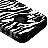 Apple Iphone 5 Hard Hybrid Case Snap on Cover White Zebra Black Silicone Tuff M