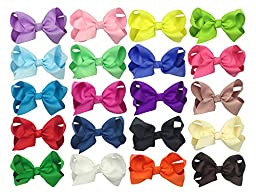 Special Design 20pcs Baby Girls Grosgrain Ribbon Boutique Big Hair Bows with Small Alligator Clips Toddlers Kids Barrettes 3-4-5-6 inch