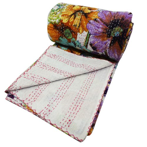 Handicrunch Floral Pattern Gudri Queen Size Kantha Style White Ethnic Quilt Bed Spread Indian Art 104 X 90 Inches