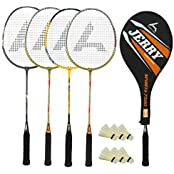 Guru Jerry BR05COMBO-05 Badminton Racket Set Pack Of Four With Four Cover & 6 Shuttlecock Size: 27 Inch