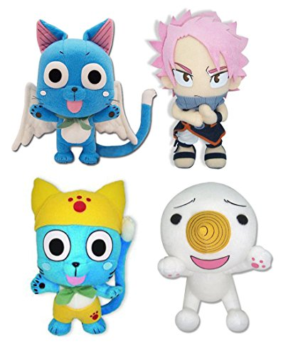 Set Of 4 Fairy Tail Plush Doll Toy- Natsu, Happy, Happy In Yellow & Plue front-637842