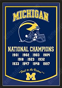 Dynasty Banner Of Michigan Wolverines With Team Color Double Matting-Framed Awesome... by Art and More, Davenport, IA