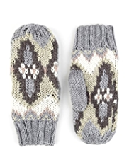 M&S Collection Fair Isle Mittens with Wool