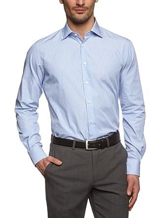 Tommy Hilfiger Tailored Herren Regular Fit Businesshemd Johny SHTSTP99001, Gr. Kragenweite: 37 cm, Blau (018)
