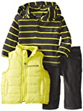 Calvin Klein Baby-Boys Newborn Vest with Stripes Hooded Tee and Pants