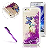 iPhone 6 Plus Case, iPhone 6S Plus Case ,EMAXELER 3D Creative Butterfly Design Flowing Liquid Floating Bling Shiny Polycarbonate Hard Case for iPhone Plus/6S Plus+Stylus Pen(Butterfly,Purple)