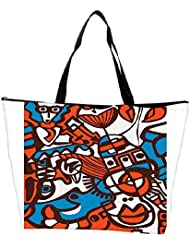 Snoogg Abstract Faces Designer Waterproof Bag Made Of High Strength Nylon