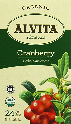 Alvita Tea Organic Cranberry Herbal Tea Bags, 24 Count