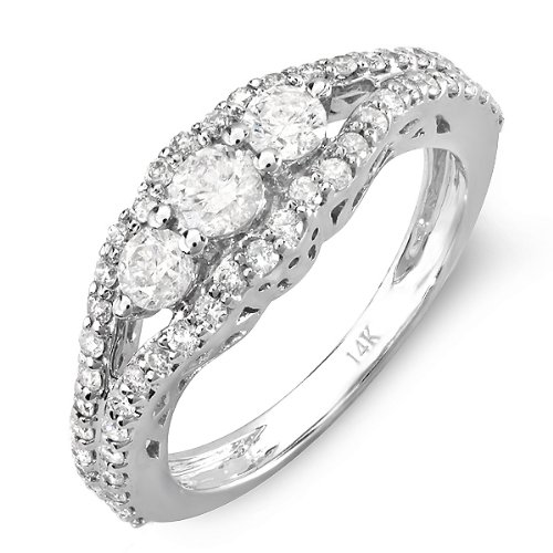 14k White Gold Round Diamond Ladies Bridal 3