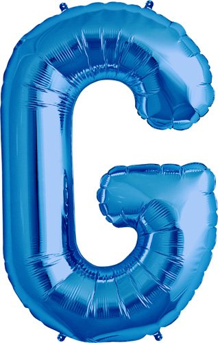 Letter G - Blue Helium Foil Balloon - 34 inch