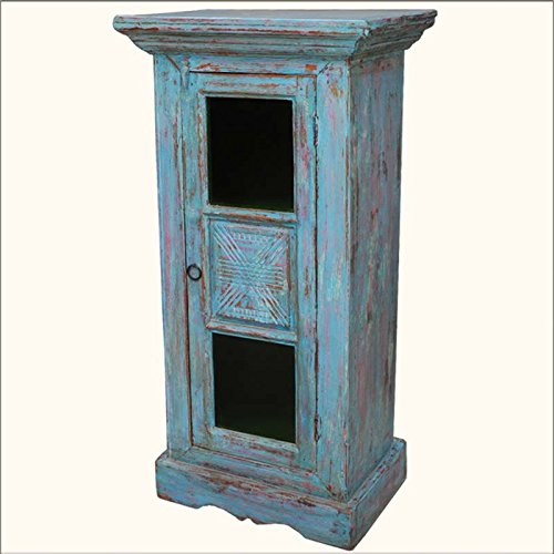 Rustic Hand Painted Teak Wood Mini Tower Storage Kitchen Cabinet