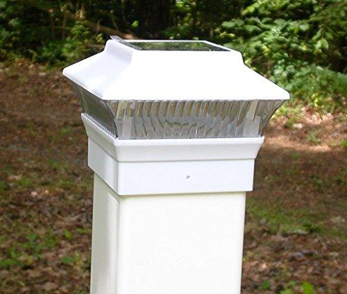 Solar White Color Square Pvc Post Fence Mount 4X4 (Set Of 2)