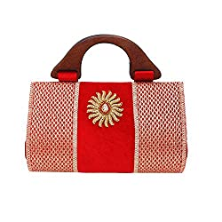 Saashiwear Women Ethnic Indian Hand Embroidered Clutch Purse Handbag