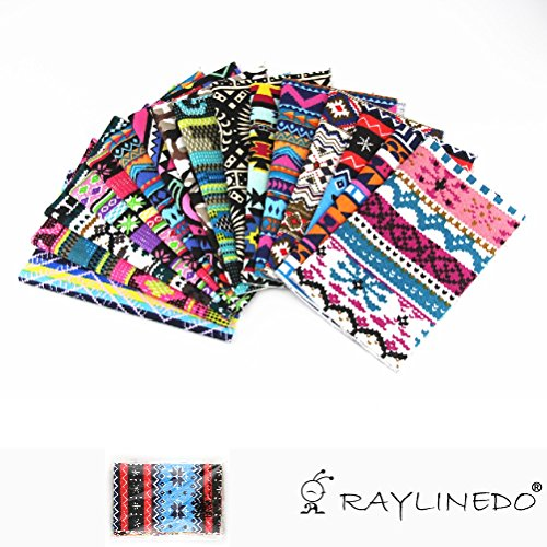 raylinedor-pack-of-15x-20cm-25cm-different-pattern-bohemia-stripe-dot-style-canvas-patchwork-fabric-