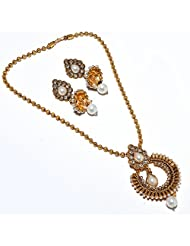 Pearl Locket Set Fashion CZ One Gram Gold Plated New Bollywood Natural Jewelry
