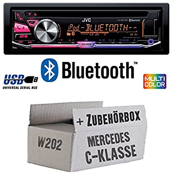 Mercedes classe C W202 - JVC KD r971bt - Kit de montage autoradio CD/MP3/USB Bluetooth Multicolore -