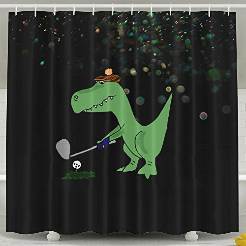 Creamfly Dinosaur Playing Golf Poster Waterproof Mildew Resistant Shower Curtain Bath Curtain With (Kids Plush Dinosaur Wings Costume)