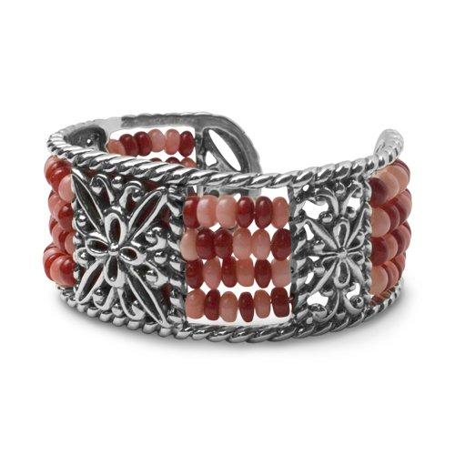 Carolyn Pollack Sterling Silver Santa Rosa Coral Cuff Bracelet