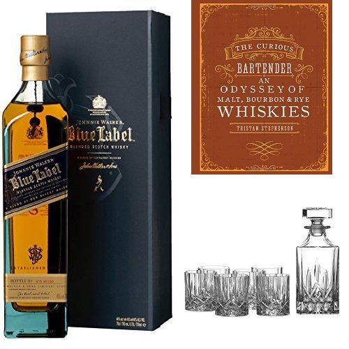discount duty free Johnnie Walker Blue Label Blended Scotch Whisky, The Curious Bartender - Malt, Bourbon & Rye Book and Royal Doulton Crystal Decanter Set