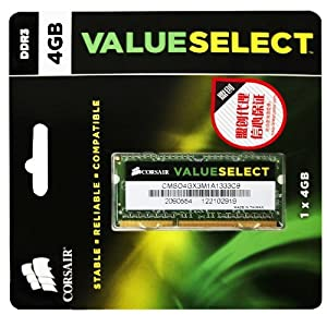 Corsair 4GB (1x4GB) DDR3 1333 MHz (PC3 10666) Laptop Memory (CMSO4GX3M1A1333C9)