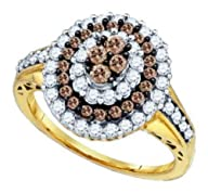 1 cttw 10k Yellow Gold Cognac Diamond Round Brilliant Cut White and Chocolate Brown Diamond Flower…