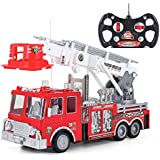 "13"" R/C Rescue Fire Engine Truck Remote Control Kids Toy with Extending Ladder"