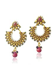 Adiva Multi-Colour Beautiful Ethnic With Stones And Pearls Copper Dangle & Drop Earrings For Women