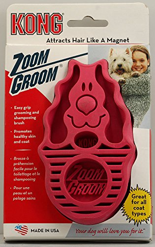 1 X Zoom Groom Rubber Brush Medium/Firm Raspberry