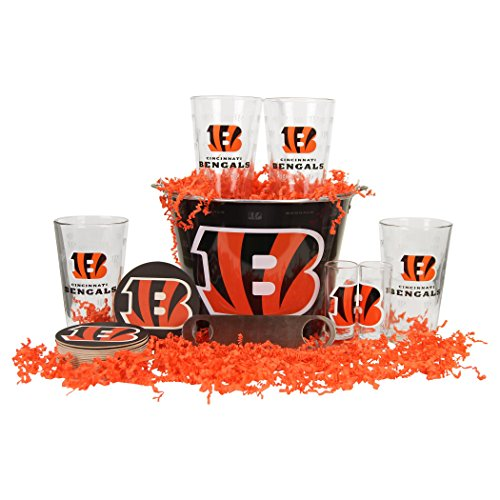 NFL Team Gift Bucket Set (Pint Glasses, Bucket, Shot Glasses, & Bottle Opener) (Cincinnati Bengals)