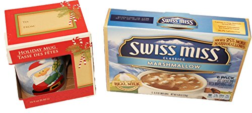 Hot Cocoa and Holiday Mug Gift Set Bundle Swiss Miss Classics Marshmallow Cocoa and a Santa Mug (Chocolate Marshmallow Santa compare prices)