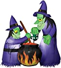Gemmy Halloween Inflatable Airblown Double Witch w/ Cauldron Yard Decor 6' Tall!