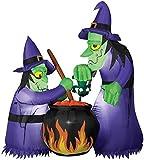 Gemmy Halloween Inflatable Airblown Double Witch w/ Cauldron Yard Decor 6' Tall!