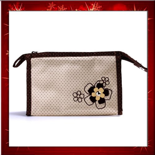 Fashion Lady Makeup Cosmetic Hand Case Zipper Pouch Bag Nude FlowerB0267