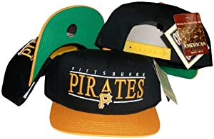 Pittsburgh Pirates Black Yellow Two Tone Snapback Adjustable Plastic Snap Back Hat... by American Needle