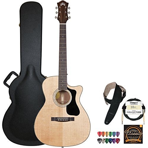 Guild F-130-Ce Natural Orchestra-Style Acoustic Electric Guitar With Guild Hard Case, Chromacast Strings, Cable, Picks And Strap